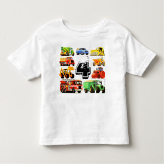 Boy's Custom Age Construction Truck 4th Birthday Toddler T-shirt
