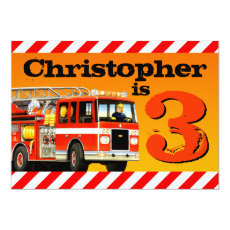 Boy's Custom Fire Truck 3rd Birthday Party Card