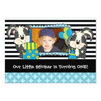 Boys Custom Little Stinker Skunk Birthday Invite