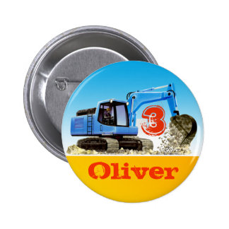 Boys Custom Name and Age Construction Digger Pinback Button