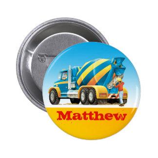 Boys Custom Name Construction Concrete Mixer Pinback Button