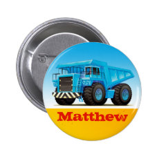 Boys Custom Name Construction Dump Truck Button