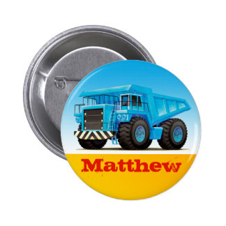 Boys Custom Name Construction Dump Truck Button