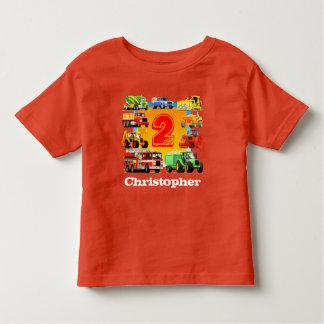 Boy's Custom Name Construction Truck 2nd Birthday Toddler T-shirt
