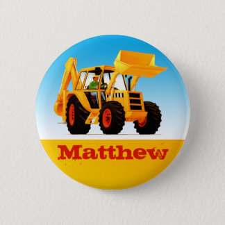 Boys Custom Name Construction Yellow Digger Button