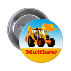 Boys Custom Name Construction Yellow Digger Button