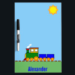 """Boy&#39;s Custom Name Train Dry Erase Board<br><div class=""""desc"""">Choo-choo! This bright and cheery train is going clickety-clack down the track on a sunny day. Under the railroad track you can personalize the dry erase board with the child&#39;s name. Perfect for a writing a schedule, to do list, or chores. A child on the autism spectrum may enjoy seeing...</div>"""