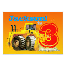 Boy's Custom Yellow Digger 3rd Birthday Party Card