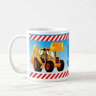 Boy's Custom Yellow Digger 5th Birthday Coffee Mug