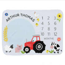 Boys Cute Blue Farm Animal Tractor Milestone Baby Blanket