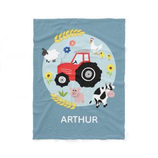 Boys Cute Blue Farm Animals Tractor & Name Kids Fleece Blanket