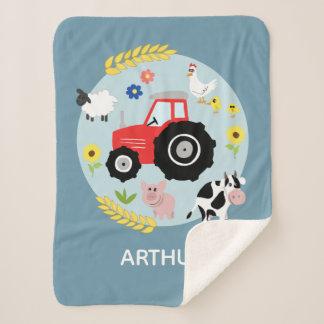 Boys Cute Blue Farm Animals Tractor & Name Kids Sherpa Blanket