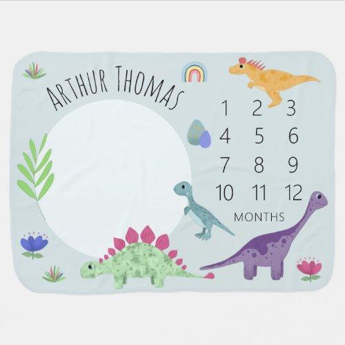Boys Cute Blue T_Rex Dinosaur  Name Milestone Baby Blanket