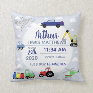 Boys Cute Car Airplane Name Baby Boy Birth Stats Throw Pillow