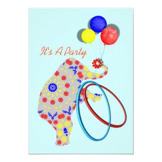 Boys Cute Cirus Elephant Party Invitations
