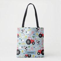 Boys Cute Farm Animal Pattern and Name Kids Tote Bag