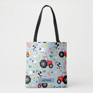 Boys Cute Farm Animal Pattern and Name Kids Tote Bag