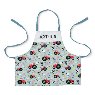 Boys Cute Farm Animal Pattern and Red Tractor Kids Apron