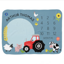 Boys Cute Farm Animal Tractor and Name Milestone Baby Blanket