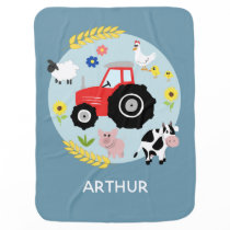 Boys Cute Farm Animal Tractor Cartoon & Name Baby Blanket