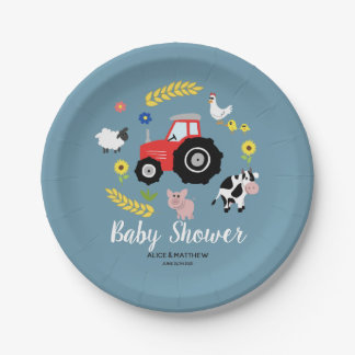 Boys Cute Farm Animals and Red Tractor Baby Shower Paper Plate