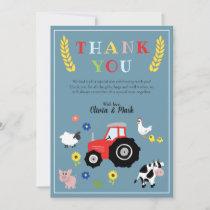 Boys Cute Farm Animals Tractor Baby Shower Thank You Card