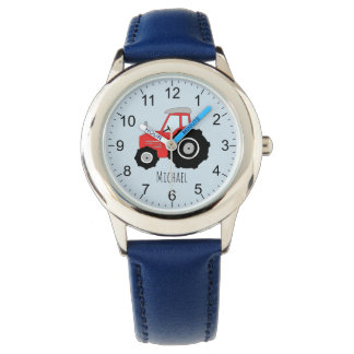 Boy's Cute Farm Tractor Kids with Name Kids Watch