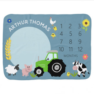 Boys Cute Green Farm Tractor and Name Milestone Baby Blanket