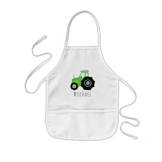 Boys Cute Green Farm Tractor with Name  Kids' Apron