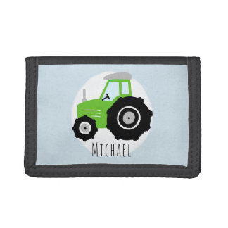 Boys Cute Green Farm Tractor with Name Kids Trifold Wallet