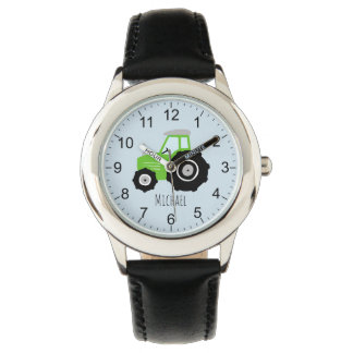 Boys Cute Green Farm Tractor with Name Kids Watch