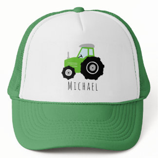 Boys Cute Green Tractor Farm and Name Kids Trucker Hat