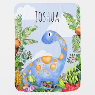 Boys Cute Jungle Watercolor Dinosaur and Name Baby Blanket