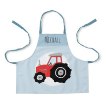 Boys Cute Modern Blue Farm Tractor & Name Kids Apron
