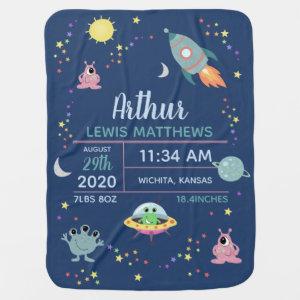 Boys Cute Modern Space Alien Birth Stats & Name Baby Blanket