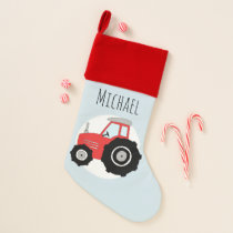 Boys Cute Red Farm Tractor Doodle with Name Christmas Stocking