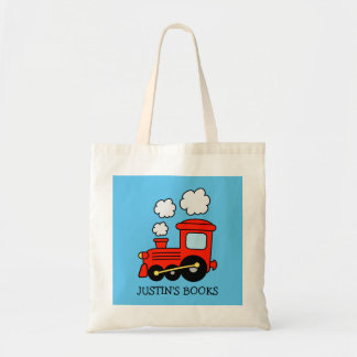 Boys cute red toy train library book tote bag