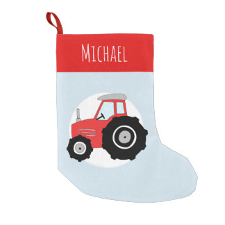Boys Cute Red Tractor Doodle and Name Small Christmas Stocking