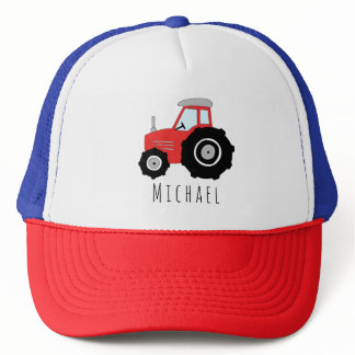 Boys Cute Red Tractor Farm and Name Kids Trucker Hat