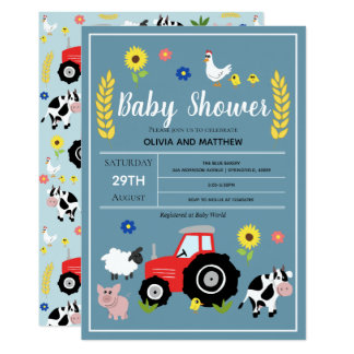 Boys Cute Rustic Country Farm Tractor Baby Shower Invitation