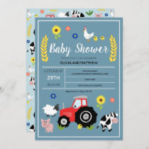 Boys Cute Rustic Country Farm Tractor Baby Shower Invitation