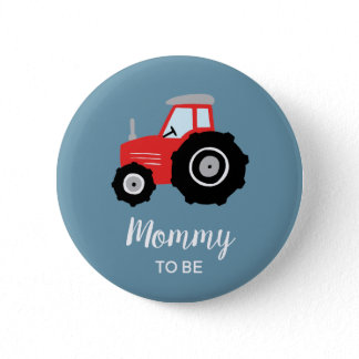 Boys Cute Tractor Mommy to Be Baby Shower Button