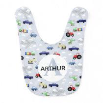 Boys Cute Transport Car Pattern and Name Baby Bib