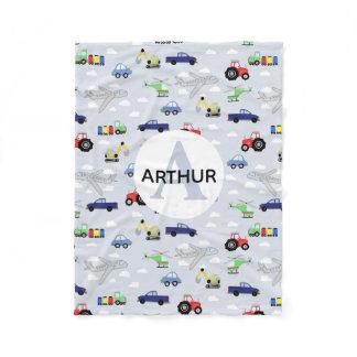 Boys Cute Transport Car Pattern Monogram Name Kids Fleece Blanket