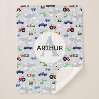 Boys Cute Transport Pattern Car Monogram Name Kids Sherpa Blanket