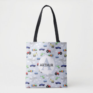 Boys Cute Transport Pattern Tractor and Name Kids Tote Bag