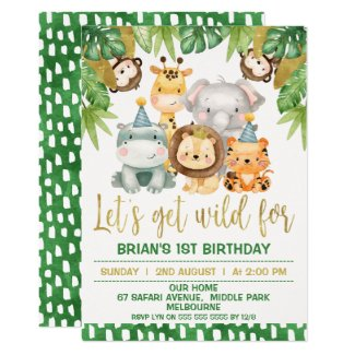 Boys Cute Wild One Safari 1st Birthday Invitation