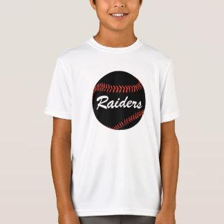 Boys Dark Black Baseball & Custom Text T-shirt