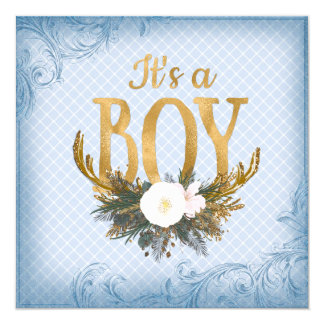 Boys Deer Antler Baby Shower Blue and Gold 5.25x5.25 Square Paper Invitation Card