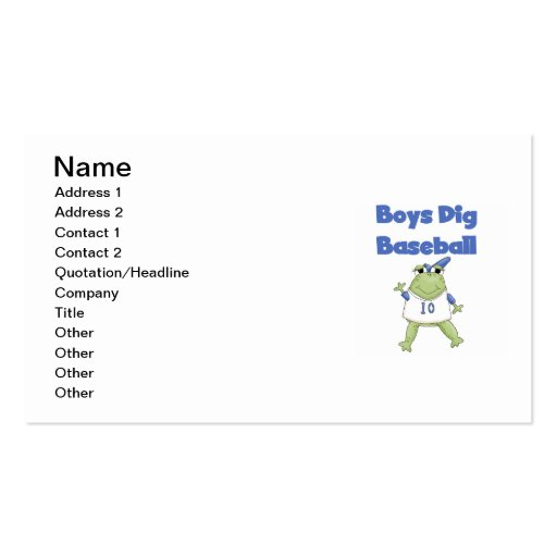 Boys Dig Baseball T-shirts and Gifts Business Card Templates